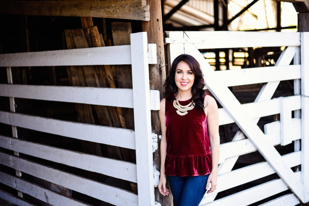Red Velvet Top with Statement Necklace