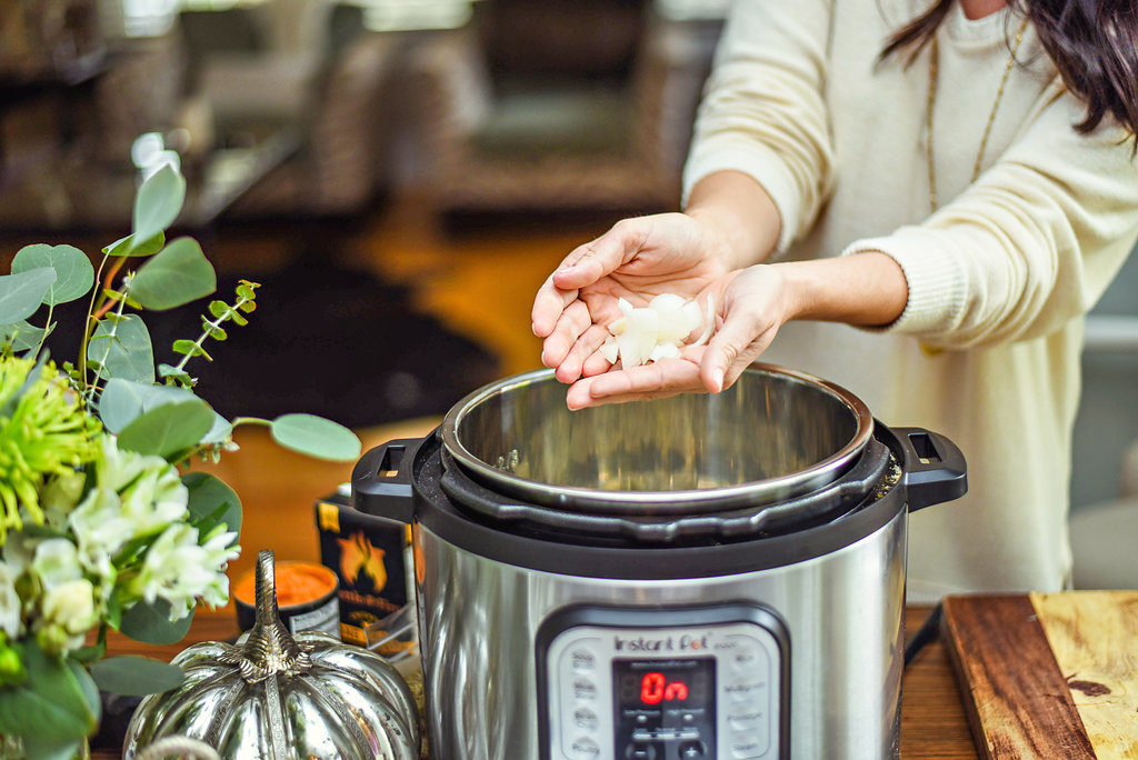 Instant Pot Pumpkin Chicken Recipe featured by top Atlanta lifestyle blogger, Moderately High Maintenance