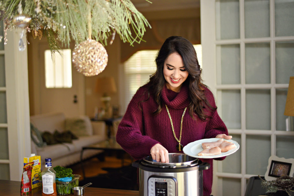 Instant Pot Tuscan Chicken Pasta Recipe featured by top Atlanta lifestyle blogger, Moderately High Maintenance