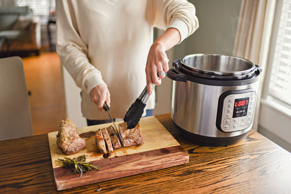 Pressure Cooker Pork Tenderloin with Garlic and Mushrooms featured by top Atlanta lifestyle blogger, Moderately High Maintenance