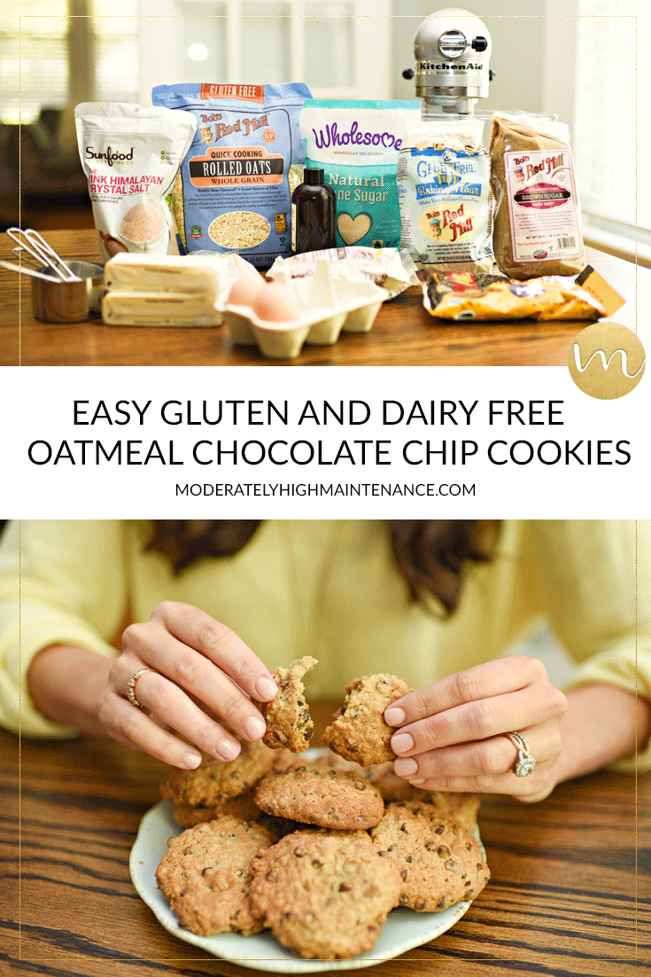After much trial and error, I have modified my favorite homemade cookie recipe to be an EASY Gluten and Dairy Free Oatmeal Chocolate Chip Cookie Recipe!
