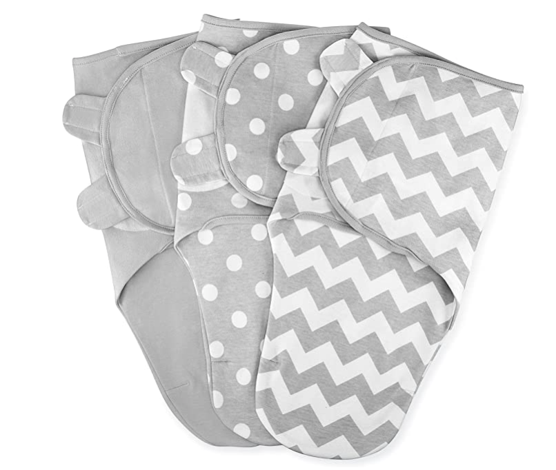 Best Baby Items by popular Atlanta motherhood blog, Moderately High Maintenance: image of gray and white swaddles.